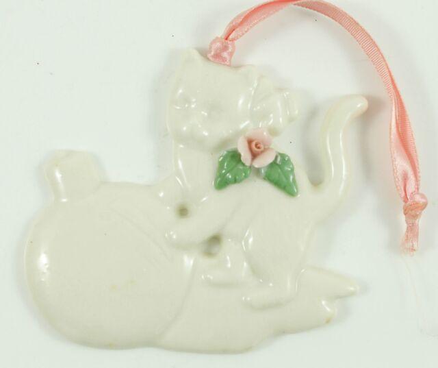 Vintage White Ceramic Kitten Pink Christmas Ornament ...