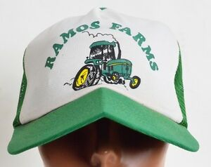 22aaced8d7f Image is loading Vintage-Ramos-Farms-Deere-style-Tractor-Mesh-trucker-