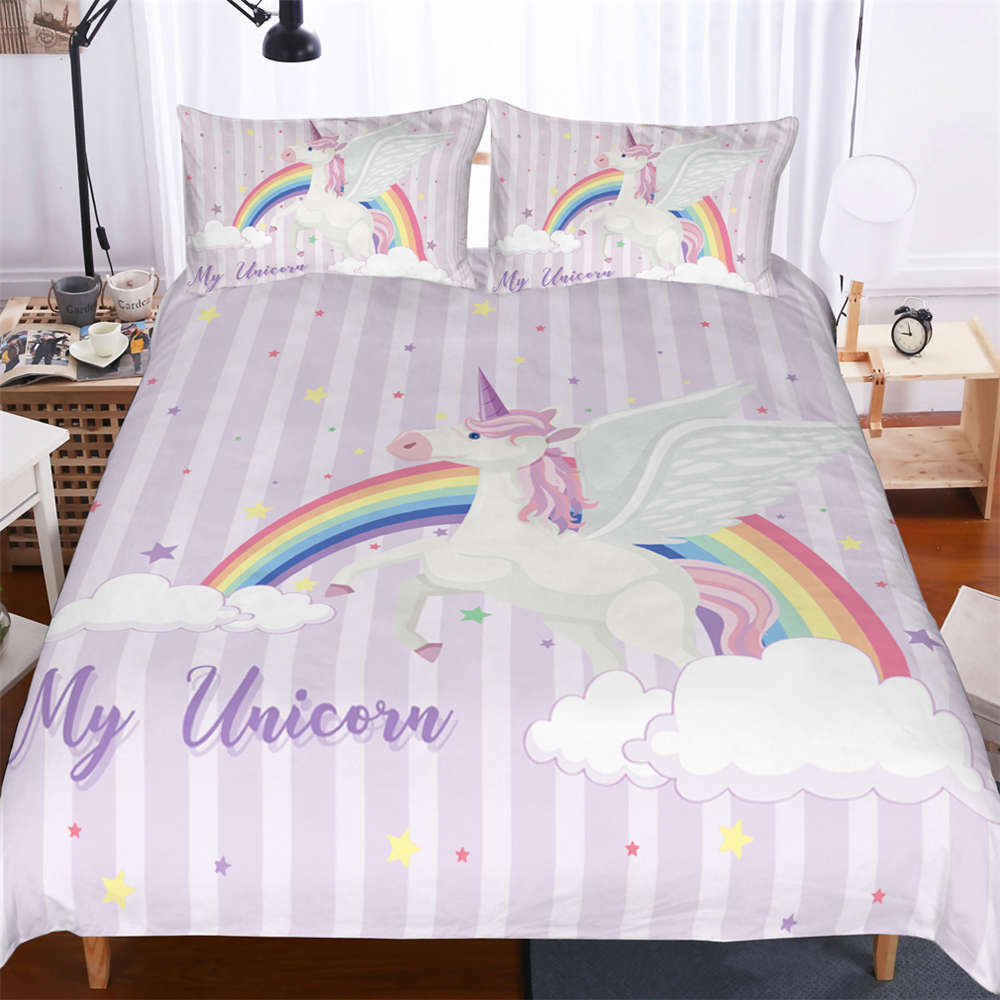 Happy Horse beauty Rainbow 3D Digital Print Bedding Duvet Quilt Cover Pillowcase