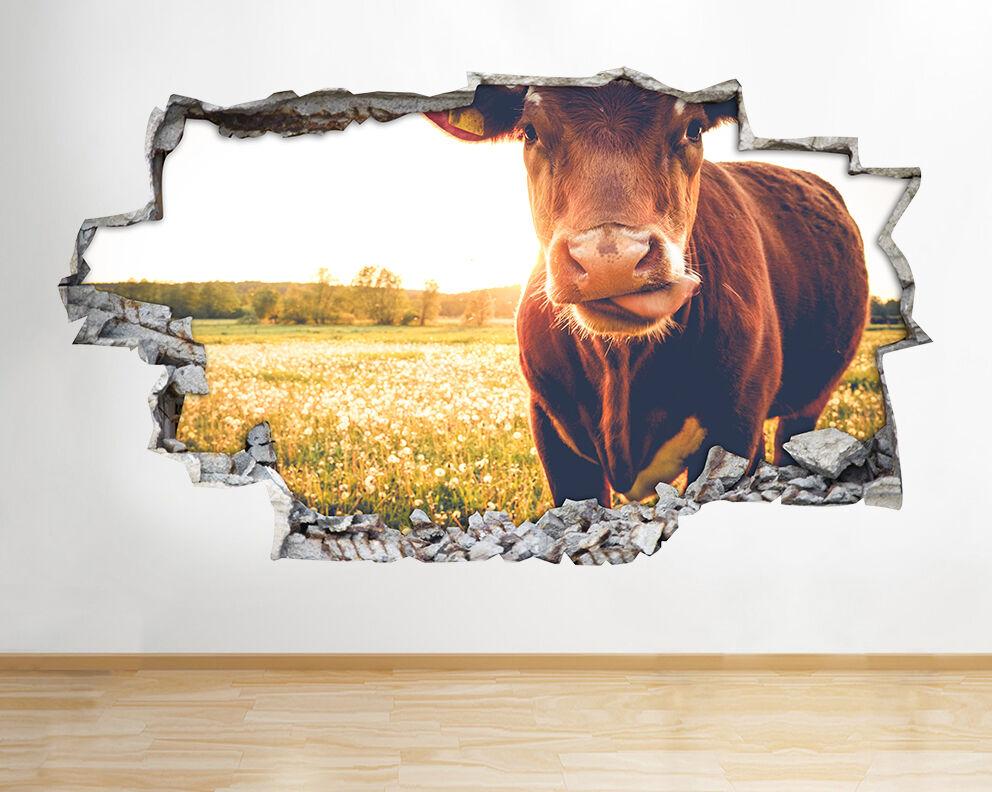 H798 langue de vache Mignons animaux Smash Autocollant Chambre 3D Vinyle enfants
