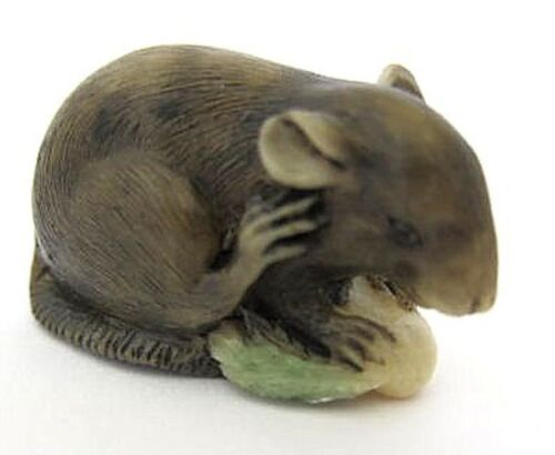 Japanese ivory colored bone   netsuke-Black Mouse eats Grain