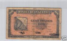 BANQUE DE LA GUYANE 100 FRANCS ND (1942) PICK 13b RARE !!!!