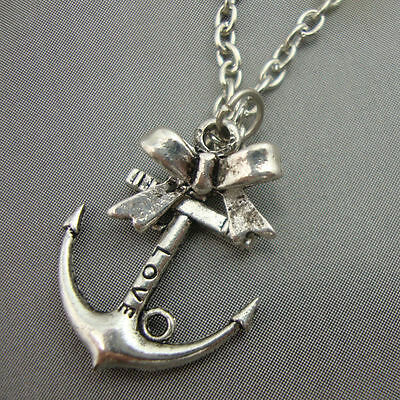 Antique Silver Plated /'Love/' Anchor Sailor Necklace with Bow Nautical Kitsch