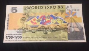 1x-Banknotes-Australian-Brisbane-World-Expo-1988-5-Dollar-Uncirculated