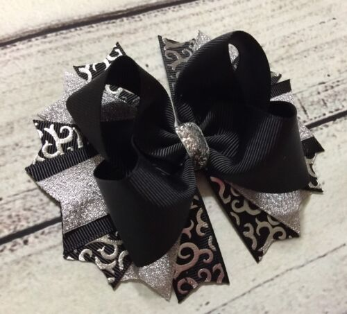 Handmade Silver And Black Over The Top Boutique Hair Bow