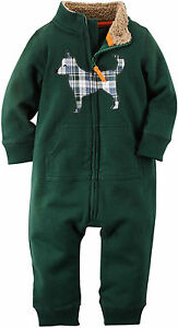 Carter/'s Fleece Navy and Green Romper with Dog 6 Months