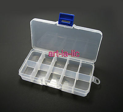 10 Detachable Compartment Rhinestones Box Case Crafts Nail Art Tips Storage
