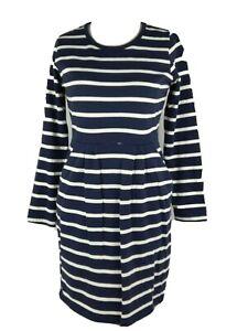 Joules-Blue-Cotton-Stripe-Nautical-Smart-Pocket-Shift-Jumper-Dress-Size-12-M