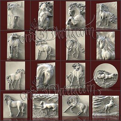 3D STL CNC Model Horses file for CNC Router Carving Machine Printer Relief Artcam Aspire Cut3d