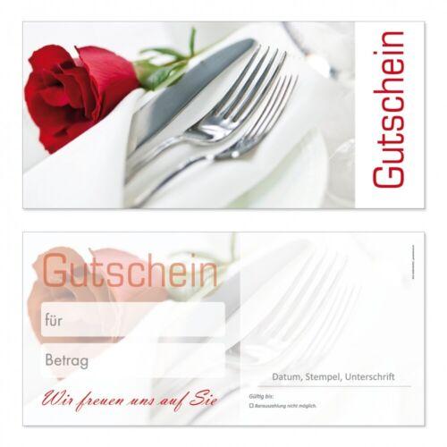 25 Premium Geschenkgutscheine-223 Din Lang Neutral für Gastronomie Restaurant