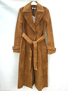 Only One Size S Zara Suede Leather Long Trench Coat