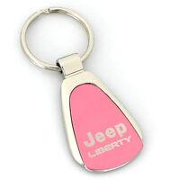 Jeep Liberty Pink Tear Drop Metal Key Ring