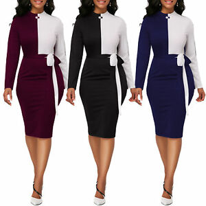 Women-Casual-Dresses-Long-Sleeve-Office-Wear-Bodycon-Midi-Skirt-Evening-Cocktail
