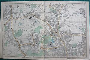 1912 Ca LARGE MAPBACON LONDONMUSWELL HILL BOWES PARK HORNSEY
