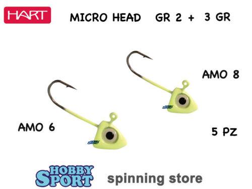 HART MICRO JIG HEAD GR 2 e GR 3  COLOR  GLOW  LIGHT ROCK FISHING 2 CONF
