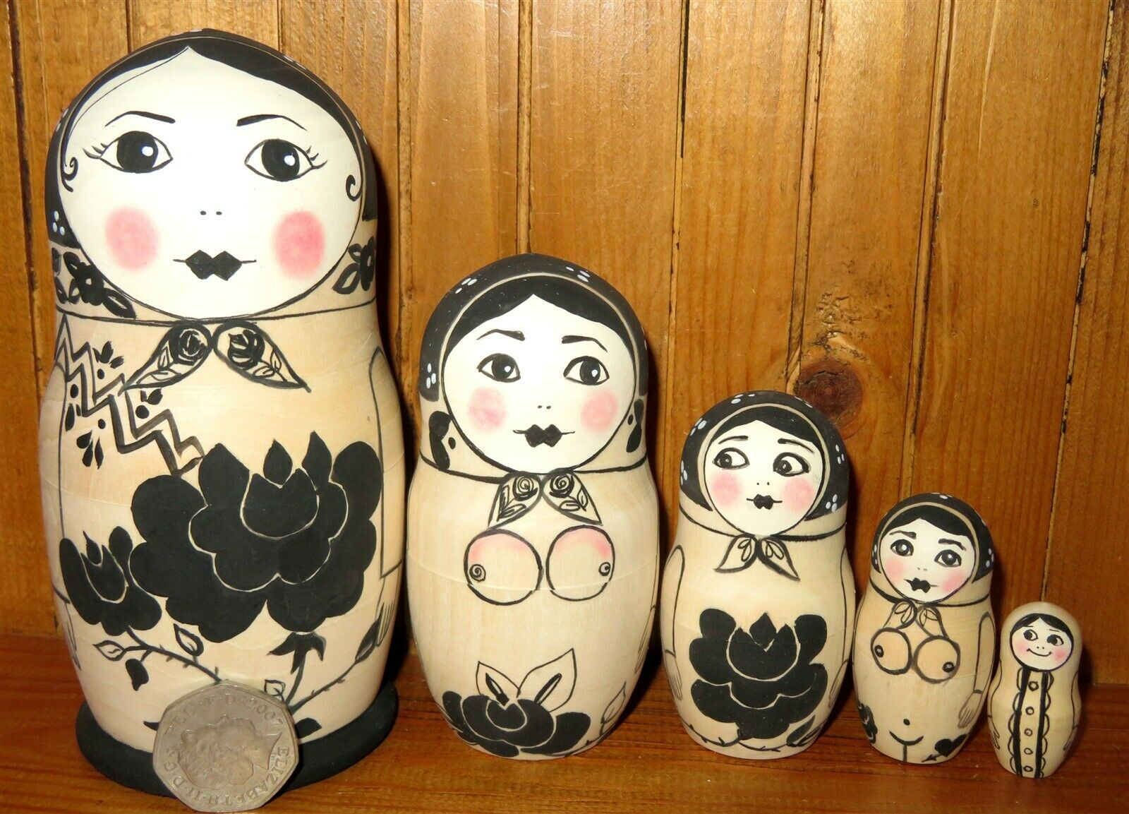 Exotic Dancer Striptease Funky Kitsch Russian nesting dolls 5 UNIQUE Matryoshka