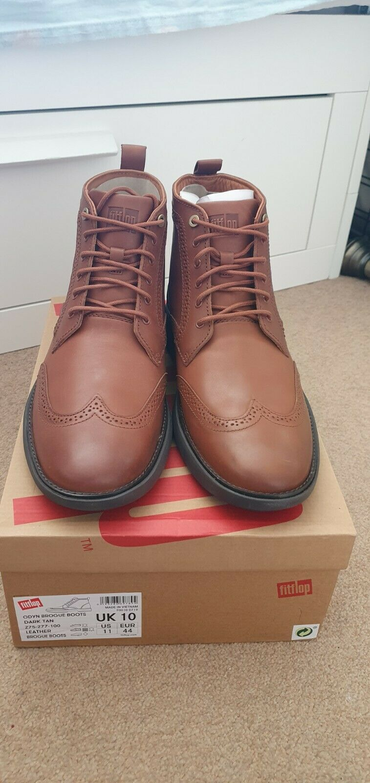 Fitflop Lamont Leather Chelsea boots brown mens size 10