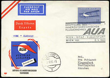 Austria 1963 FFC First Flight Cover, Wien-Klagenfurt #C16837