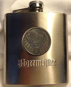 Jagermeister-Stainless-Steel-Flask-Shiny-6-oz-Deer-Head-Logo-NEW