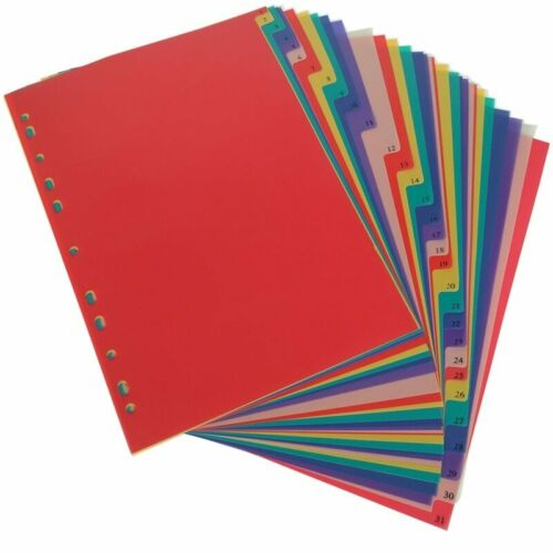 Aikeen® A4  31Pages Colored PP Binder Divider 11Holes Archives Files Color Index