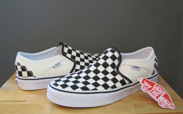 low cost lace up in really comfortable Vans Women Checkerboard Black / Off White Asher Slip On Sneaker ...