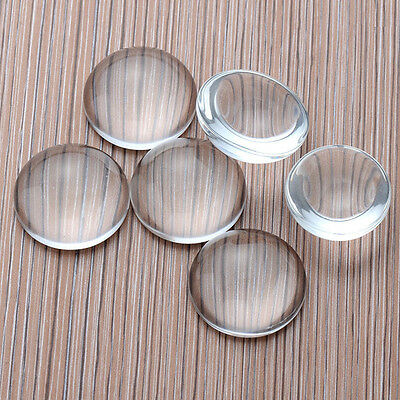 10Pcs 8-25MM Transparent Round Shape Flatback Domed Glass Cabochon Making DIY