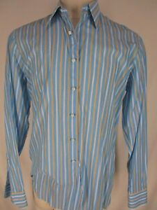 Fray-Mens-Blue-Stripe-Long-Sleeve-Cotton-Shirt-16-L-Italy-Made