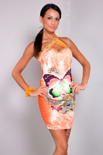 Ladies One Shoulder Dress Sleeveless Bodycon BUTTERFLY Tunic Sizes 8-10 FC2962