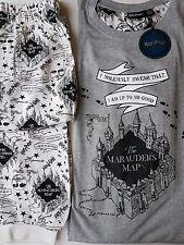 Harry Potter Ladies Pyjamas Marauders Map Primark Nightwear SET UK14-16 USA10-12