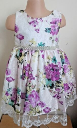 Ivory Purple Floral Pearls Flower Girl Summer Party Wedding Guest Dress 0-12y