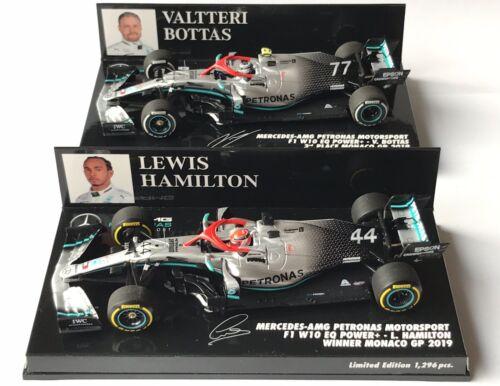 Minichamps SET 417190644 /& 417190677 Hamilton /& Bottas p1/&3 Monaco GP 2019 1:43