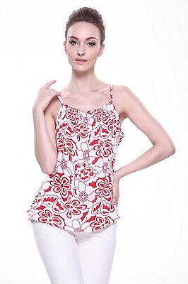 Aloha Cruise Beach Luau Shirt Elastic Hawaiian Spaghetti Tank Top White Red Flor