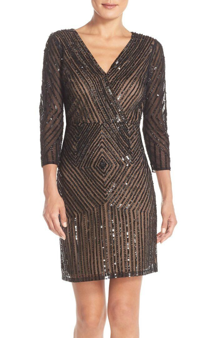 ADRIANNA PAPELL EMBELLISHED A-LINE  DRESS  sz 6