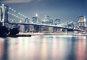 Brooklyn Bridge Night New York 3D Full Wall