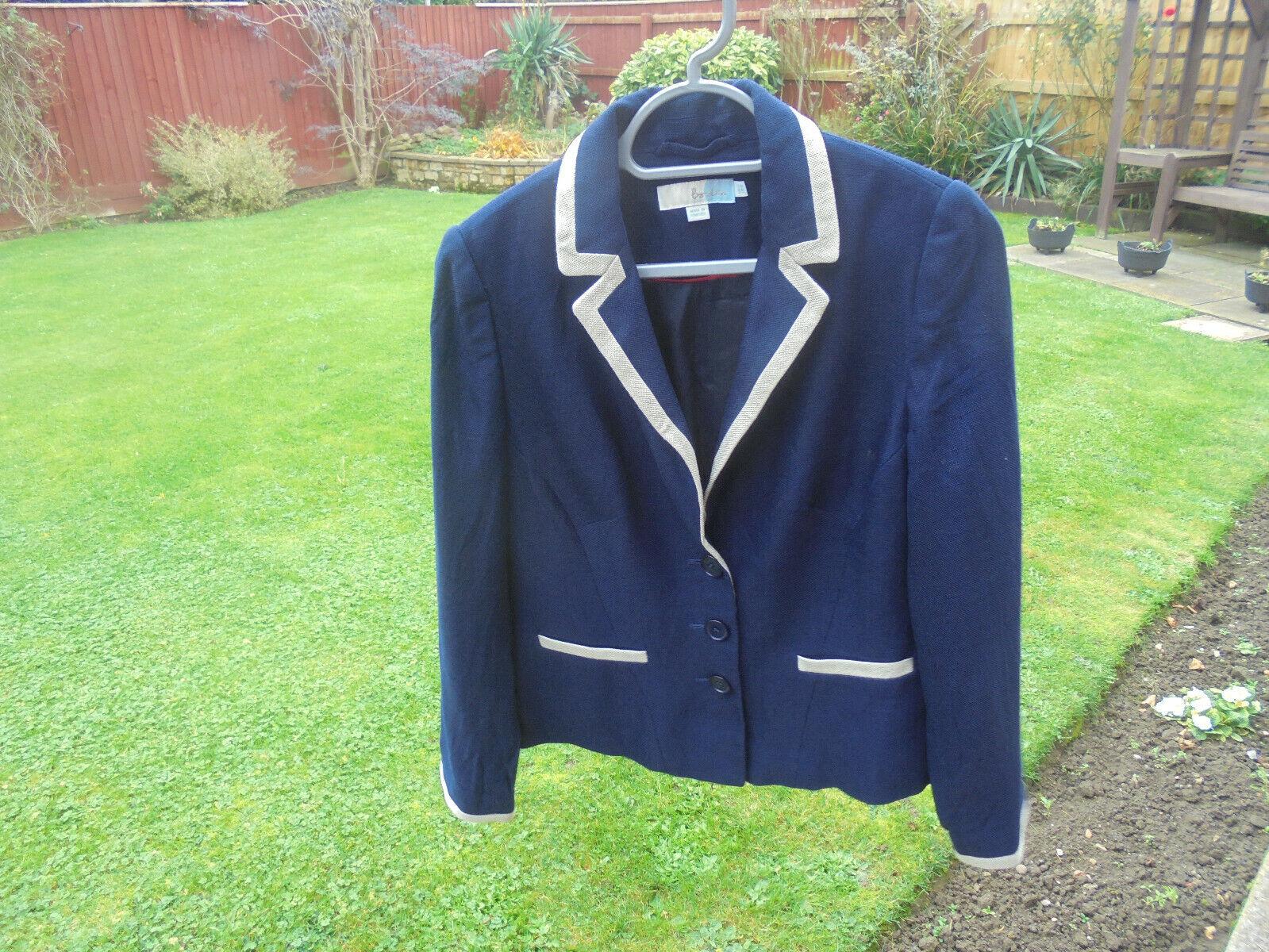 BODEN jacket size 12 navy colour with contrast trim WQ085