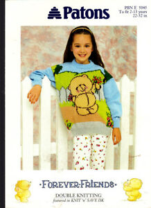 Details about Knitting Pattern, Girls Forever Friends Teddy Sweater,  22-32in, Patons PBN5045
