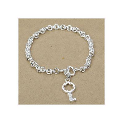 Asamo Damen Armband Mit Schlüssel Zirkonia 925 Sterling Silber Plattiert A1301