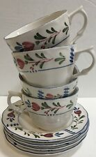 Nikko Avondale 4 White Cups Saucers Set Provincial Red Blue Flowers Blue Trim
