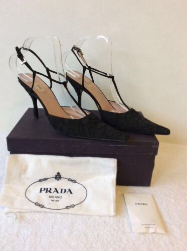 T Bar 5 Pointed Lace Prada 39 Toe 6 Black Heels 5 Size qAnIX