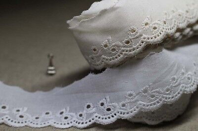 14Yds broderie anglaise vintage cotton eyelet lace trim 2.5cm YH852 laceking