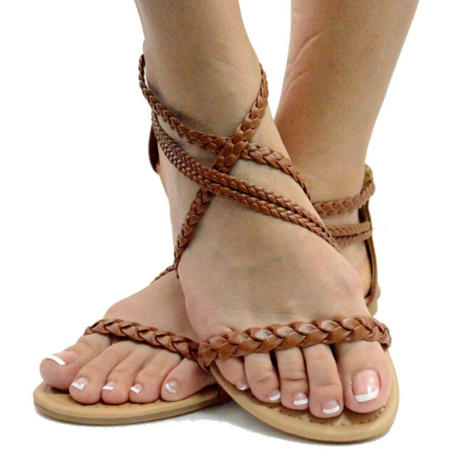 Ultimate Women's Braided Flat Gladiator Sandal Thong Flip Flops Y- Strap Style
