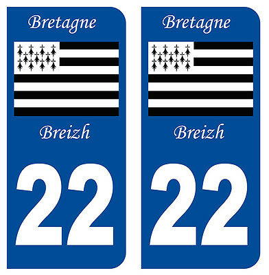 Cooperative 22 Cotes-d'armor Bretagne Departement Immatriculation 2 X Autocollants Sticker Badges, Insignes, Mascottes