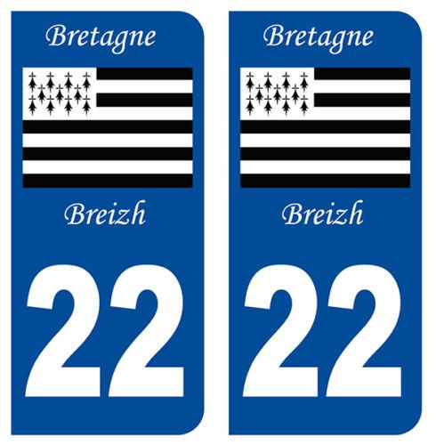 22 COTES-D/'ARMOR BRETAGNE DEPARTEMENT IMMATRICULATION 2 X AUTOCOLLANTS STICKER