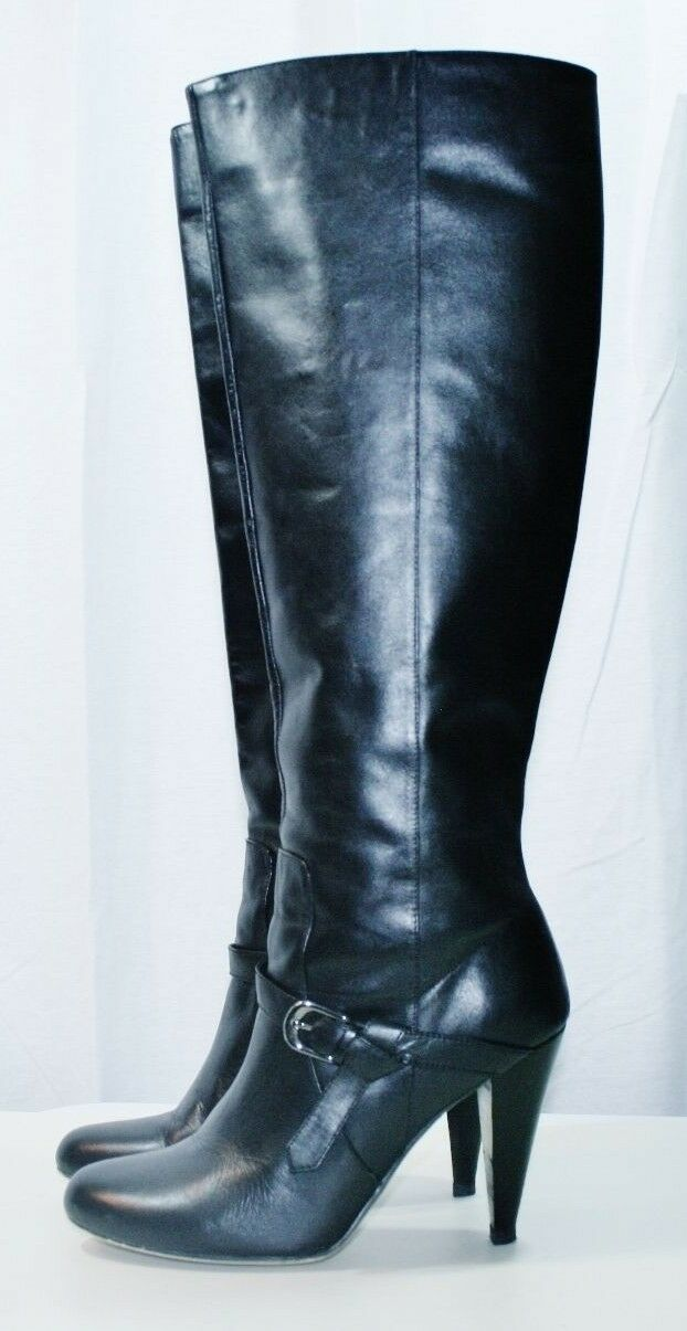 CHARLES DAVID BLACK LEATHER KNEE HIGH PULL ON BOOTS SHOES HEELS 8.5 SEXY GOTH