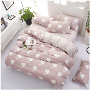 New-Heart-Shaped-Pattern-Bedding-Set-Duvet-Cover-Sheet-Pillow-Case-Four-Piece