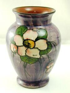 Vintage-Torquay-ware-vase-flower-design-on-purple-11cm