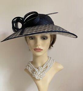 Cartwheel Fascinator Hat Black & Natural Check Sinamay With Headband And Bow