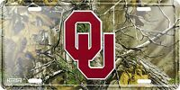 Oklahoma Sooners Realtree Camo Camouflage Metal License Plate Auto Tag Sign