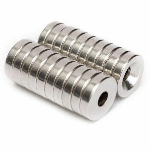 20 Stück Starke Round Magnete N50 Neodym Permanentmagnet 12mm x 4mm mit 4mm Loch