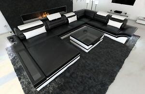 Ledersofa Mega Wohnlandschaft Mezzo Xxl Designer Couch Ottomane Led